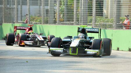 garde: Giedo van der Garde racing in his Caterham car during 2012 GP2 race at Singapore Marina Bay circuit on September 22, 2012 in Singapore