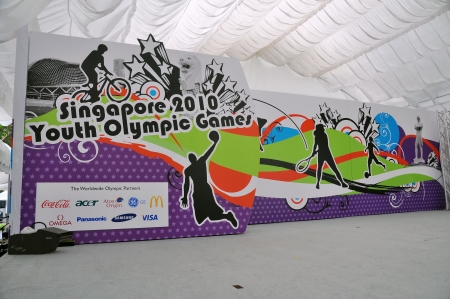 Stage and backdrop for Singapore 2010 Youth Olympic Games logo launch ceremony January 10, 2009 in Singapore