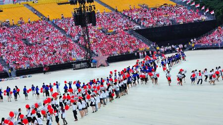 Performance during National Day Parade Combined Rehearsal July 03, 2010 in Singapore Stock Photo - 16817750