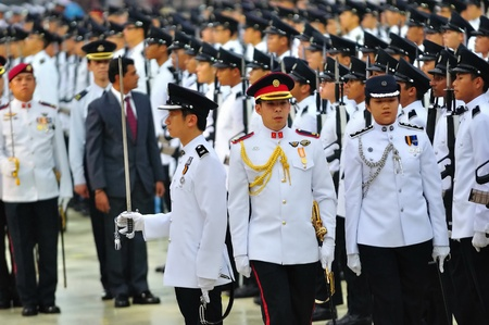 major force: Guard-of-honor inspection during National Day Parade Combined Rehearsal July 03, 2010 in Singapore