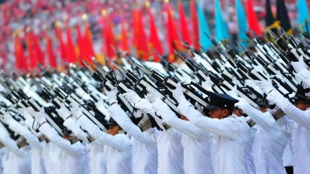 rehearsal: Presidential gun salute by guard-of-honor contingents during National Day Parade Combined Rehearsal July 03, 2010 in Singapore