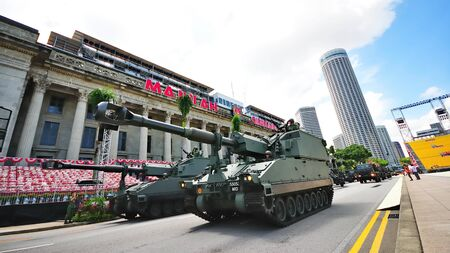 primus: Columns of Primus self-propelled Howitzer parading during Singapore National Day Parade 2010 at the Padang August 09, 2010 in Singapore