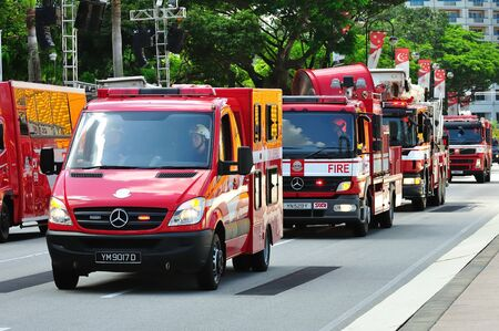 Row of emergency vehicles parading during Singapore National Day Parade 2010 at the Padang August 09, 2010 in Singapore