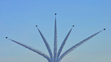 during the day: F16 aerial display during Singapore National Day Parade 2010 at the Padang August 09, 2010 in Singapore