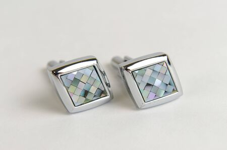 Diamond shaped stainless steel men cuff links Stock Photo - 16896798