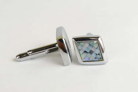 cuff links: Diamond shaped stainless steel men cuff links Stock Photo