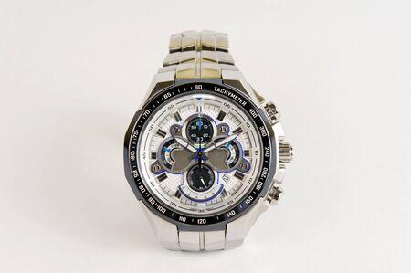 cronografo: Acero inoxidable plata reloj con cron�grafo y taqu�metro