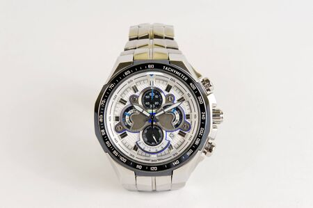 chronograph: Stainless steel silver watch with chronograph and tachymeter Stock Photo