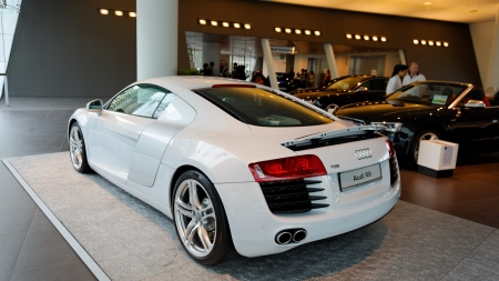 Flagship white Audi R8 super car on display at the opening of the new Audi Centre Singapore December 15, 2012 in Singapore Editorial
