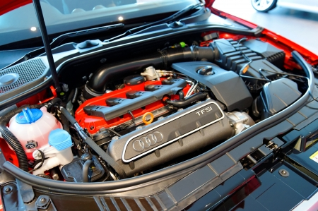 Engine of Audi S3 hatch back at the opening of the new Audi Centre Singapore December 15, 2012 in Singapore Editorial