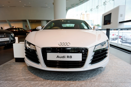 Flagship white Audi R8 super car on display at the opening of the new Audi Centre Singapore December 15, 2012 in Singapore