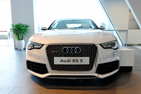Audi RS5 sports coupe on display at the opening of the new Audi Centre Singapore December 15, 2012 in Singapore