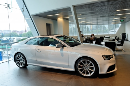 coupe: Audi RS5 sports coupe on display at the opening of the new Audi Centre Singapore December 15, 2012 in Singapore Editorial