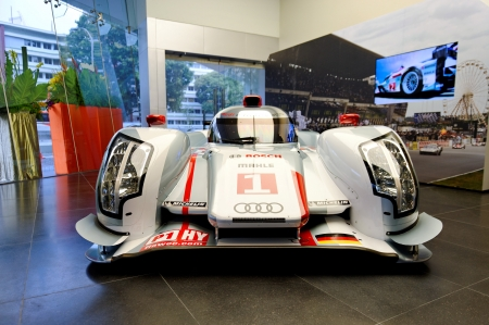 Audi R18 e-tron quattro Le Mans racing car on display at the opening of the new Audi Centre Singapore December 15, 2012 in Singapore