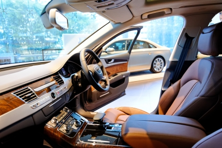 Interior of Audi A8 full size luxury limousine at the opening of the new Audi Centre Singapore December 15, 2012 in Singapore