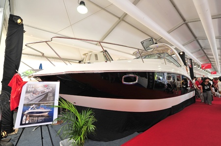 chaparral: Chaparral Signature Cruiser 310 on display at the Singapore Yacht Show 2013 at One Degree 15 Marina Club, Sentosa Cove April 20, 2013 in Singapore Editorial