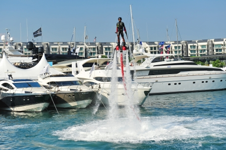 propel: Demonstration of Zapata Racing water propelled flyboard at the Singapore Yacht Show 2013 at One Degree 15 Marina Club, Sentosa Cove April 20, 2013 in Singapore