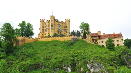 Famous Hohenschwangau Castle on top of the hill in Germany