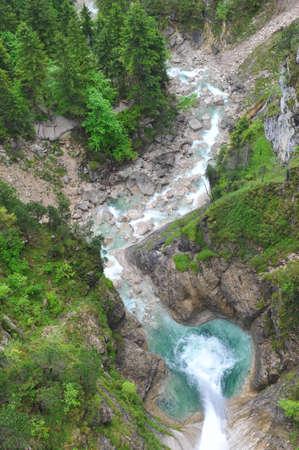 schwangau: Aerial view of water fall in Schwangau, Germany