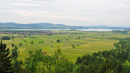 schwangau: Aerial view of Schwangau municipal in Germany, famous for Neuschwanstein Castle