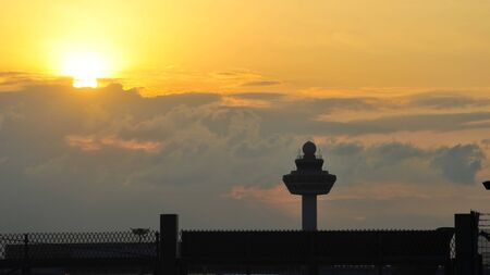 Silhouette of Changi Airport control tower