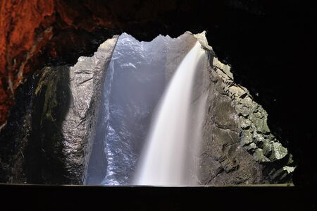 monch: Trummelbach Falls in Lauterbrunnen Switzerland are a series of waterfalls inside the mountain, draining glacier of Eiger, Monch and Jungfrau