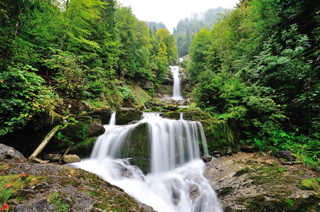 Beautiful Giessbach Falls in Brienz, Switzerland