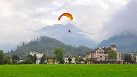 monch: Interlaken town surrounded by famous mountain peaks  Eiger, Monch   Jungrau  in Switzerland
