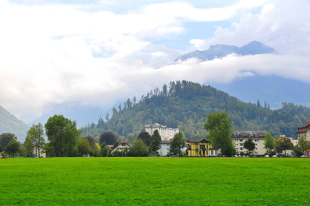 eiger: Interlaken town surrounded by famous mountain peaks  Eiger, Monch   Jungrau  in Switzerland