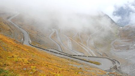 Famous Stelvio pass with 48 hairpin turns in Italy photo