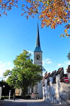 oswald: Clock tower of St Oswald church in city of Zug, Switzerland