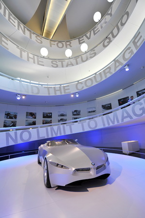 visionary: MUNICH - JUNE 8: BMW GINA Light Visionary fabric-skinned concept car on display in BMW Museum on June 8, 2013 in Munich