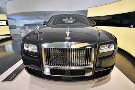 MUNICH - JUNE 8: Black Rolls Royce Phantom limousine on display in BMW Museum on June 8, 2013 in Munich