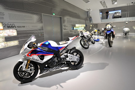 scrambler: MUNICH - JUNE 8: BMW S 1000 RR and other motorcycles on display in BMW Museum on June 8, 2013 in Munich