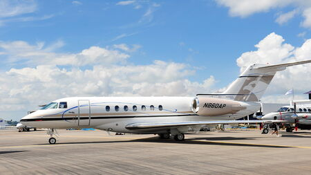 SINGAPORE - FEBRUARY 12  Hawker 4000 business jet on display at Singapore Airshow February 12, 2012 in Singapore