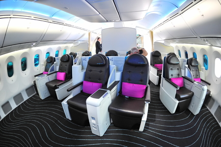 SINGAPORE - FEBRUARY 12  Luxurious business class seats in the new Boeing 787 Dreamliner at Singapore Airshow February 12, 2012 in Singapore