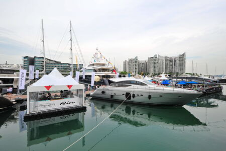 pershing: SINGAPORE - APRIL 12: Pershing 64 yacht on display during Singapore Yacht Show at One Degree 15 Marina Club Sentosa Cove April 12, 2014 in Singapore