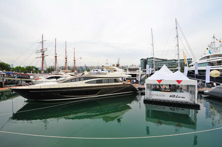 pershing: SINGAPORE - APRIL 12: during Singapore Yacht Show at One Degree 15 Marina Club Sentosa Cove April 12, 2014 in Singapore