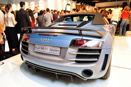 SINGAPORE - MAY 18: Audi R8 GT Spyder on display at Audi Fashion Festival 2012 on May 18, 2012 in Singapore