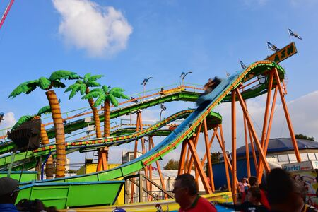 thrill: LILLE - SEPTEMBER 13: People enjoying themselves at the Lille amusement park on September 13, 2014 in Lille, France