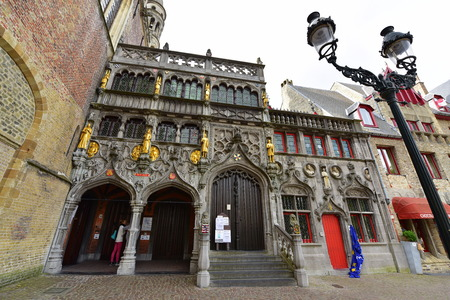 phial: BRUGES - SEPTEMBER 14: Basilica of the Holy Blood famous for housing a phial claimed to contain a cloth with Christs blood taken on September 14, 2014 in Bruges, Belgium Editorial