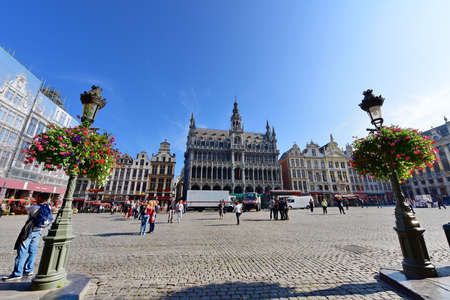 the place is important: BRUSSELS - SEPTEMBER 15: Grand Place of Brussels, an important tourist destination, most memorable landmark in Brussels and a UNESCO World Heritage Site, taken on September 15, 2014 in Brussels, Belgium Editorial