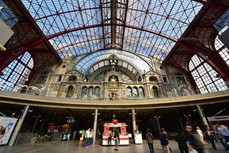 antwerp: ANTWERP - SEPTEMBER 17: Antwerp Central Railway Station, operated by the national railway company NMBS, taken on September 17, 2014 in Antwerp, Belgium Editorial