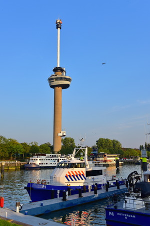 ROTTERDAM - SEPTEMBER 17:  Euromast observation tower built specially for the 1960 Floriade, taken on September 17, 2014 in Rotterdam, Netherlands