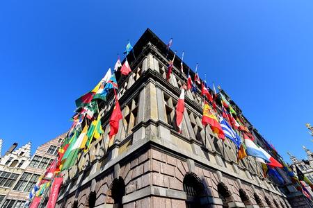 antwerp: ANTWERP - SEPTEMBER 17: City Hall of Antwerp stands at the Great Market Square, inscribed on UNESCOs World Heritage list, taken on September 17, 2014 in Antwerp, Belgium