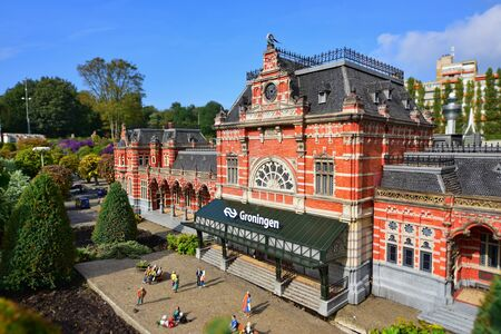 minature: HAGUE - SEPTEMBER 19: Scaled replica of Groningen railway station at Madurodam minature park, taken on September 19, 2014 in Hague, Netherlands