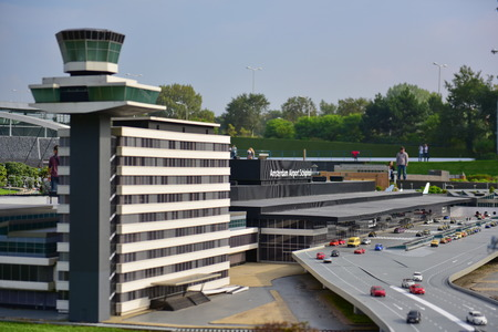 replica: HAGUE - SEPTEMBER 19: Scaled replica of Amsterdam Schiphol airport at Madurodam minature park, taken on September 19, 2014 in Hague, Netherlands