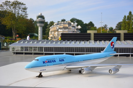 minature: HAGUE - SEPTEMBER 19: Scaled replica of a Korean Air Boeing 747 aircraft at Madurodam minature park, taken on September 19, 2014 in Hague, Netherlands