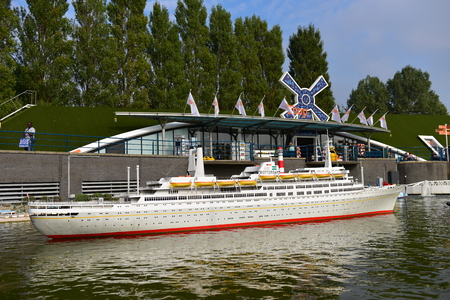 minature: HAGUE - SEPTEMBER 19: Scaled replica of the SS Rotterdam retired cruise ship, taken on September 19, 2014 in Hague, Netherlands Editorial