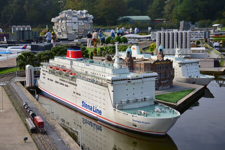 minature: HAGUE - SEPTEMBER 19: Scaled replica of Stena Line ship in the Madurodam minature park, taken on September 19, 2014 in Hague, Netherlands Editorial